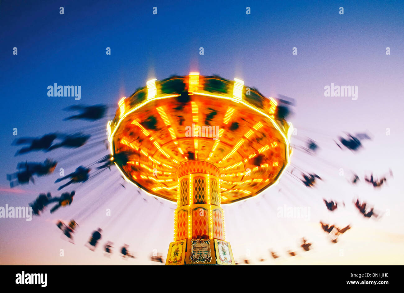 Sweden Stockholm Merry go round Action Activity Amusement Amusement park Amusement parks Carousel Chair Emotion Stock Photo
