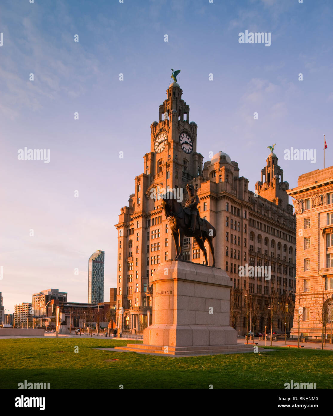 The Port of Liverpool Cunard and Liver Buildings comprise the Three Graces Liverpool England - Stock Image