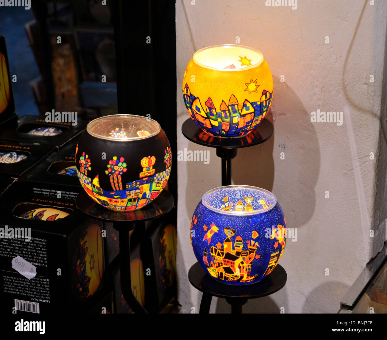 Art Lamps In The Souvenir Shop Of Hundertwasser House,Vienna,Austria,Europe