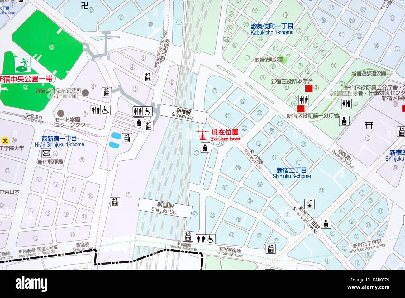Street map of Shinjuku district showing You are here in both English