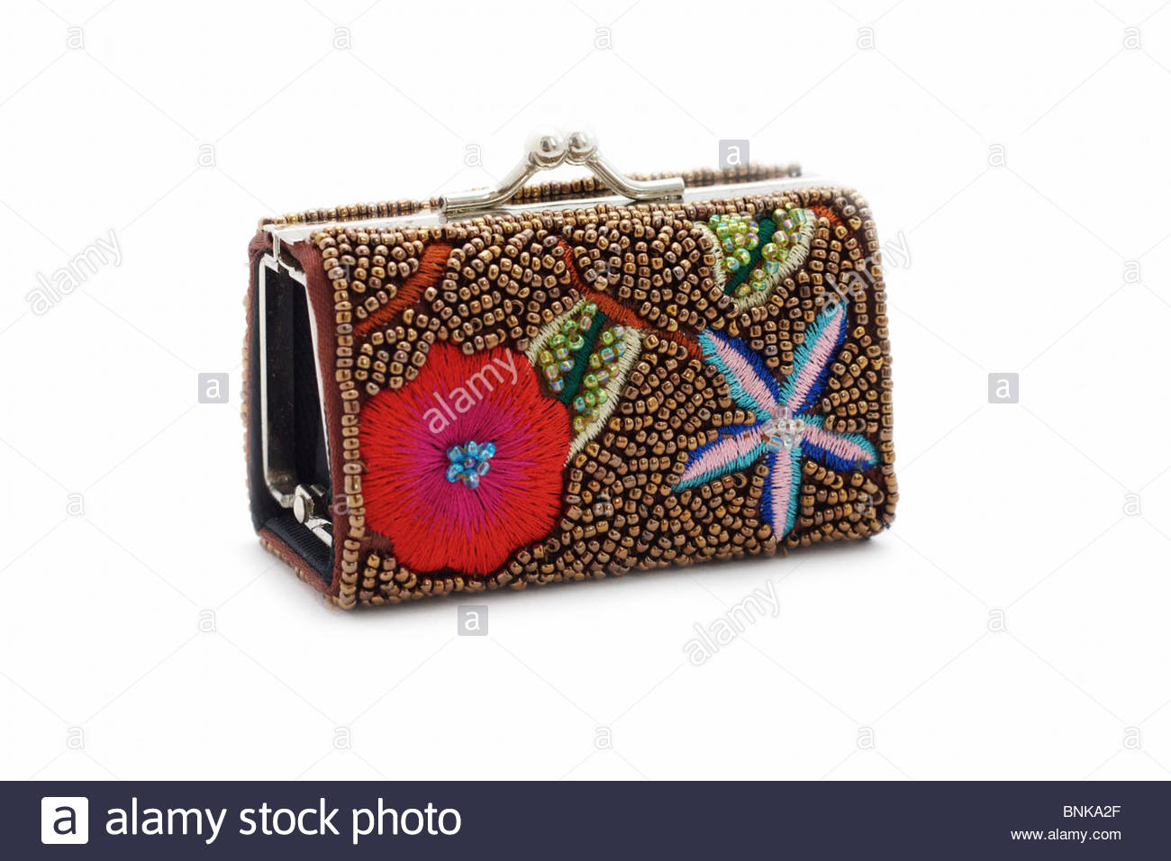 lady's purse embroidered with beads and threads - Stock Image