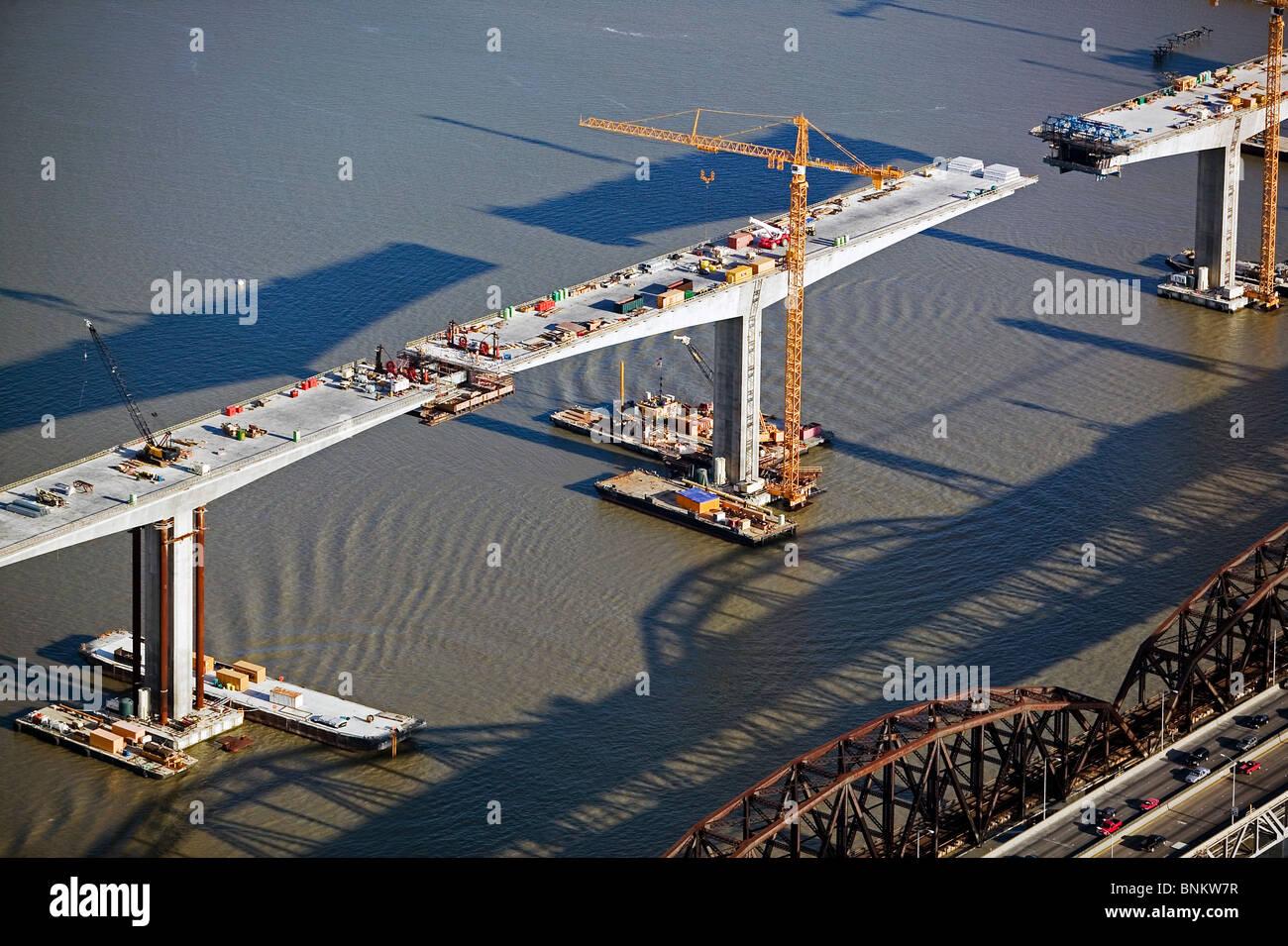 aerial view above San Francisco bay bridge construction - Stock Image