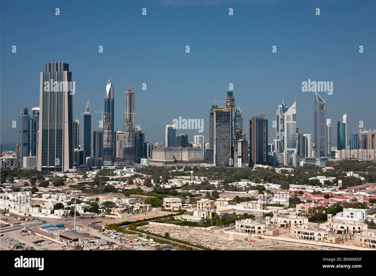 Dubai United Arab Emirates Middle East UAE Middle East skyline blocks of flats high-rise buildings buildings constructions - Stock Image