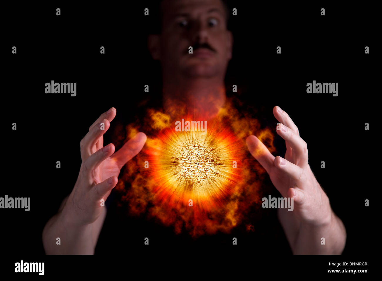 Mad scientist is using superpower to cause an explosion - Stock Image