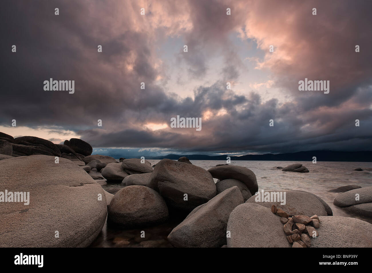 Storm clouds hover over Lake Tahoe near Incline Village, Nevada, USA. - Stock Image