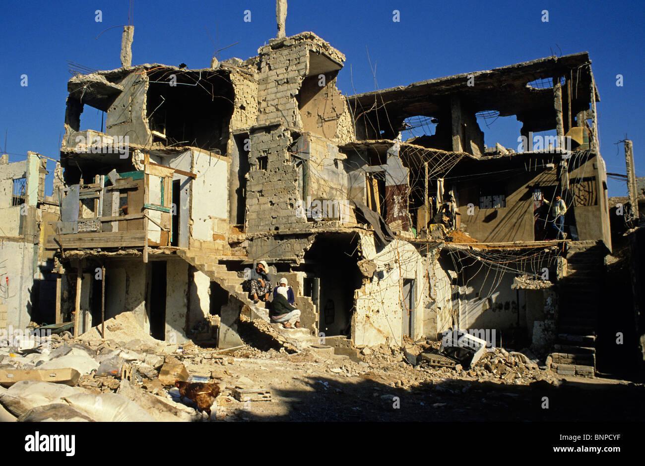 Bour El Brajneh Palestinian camp during the civil war Beirut Lebanon - Stock Image