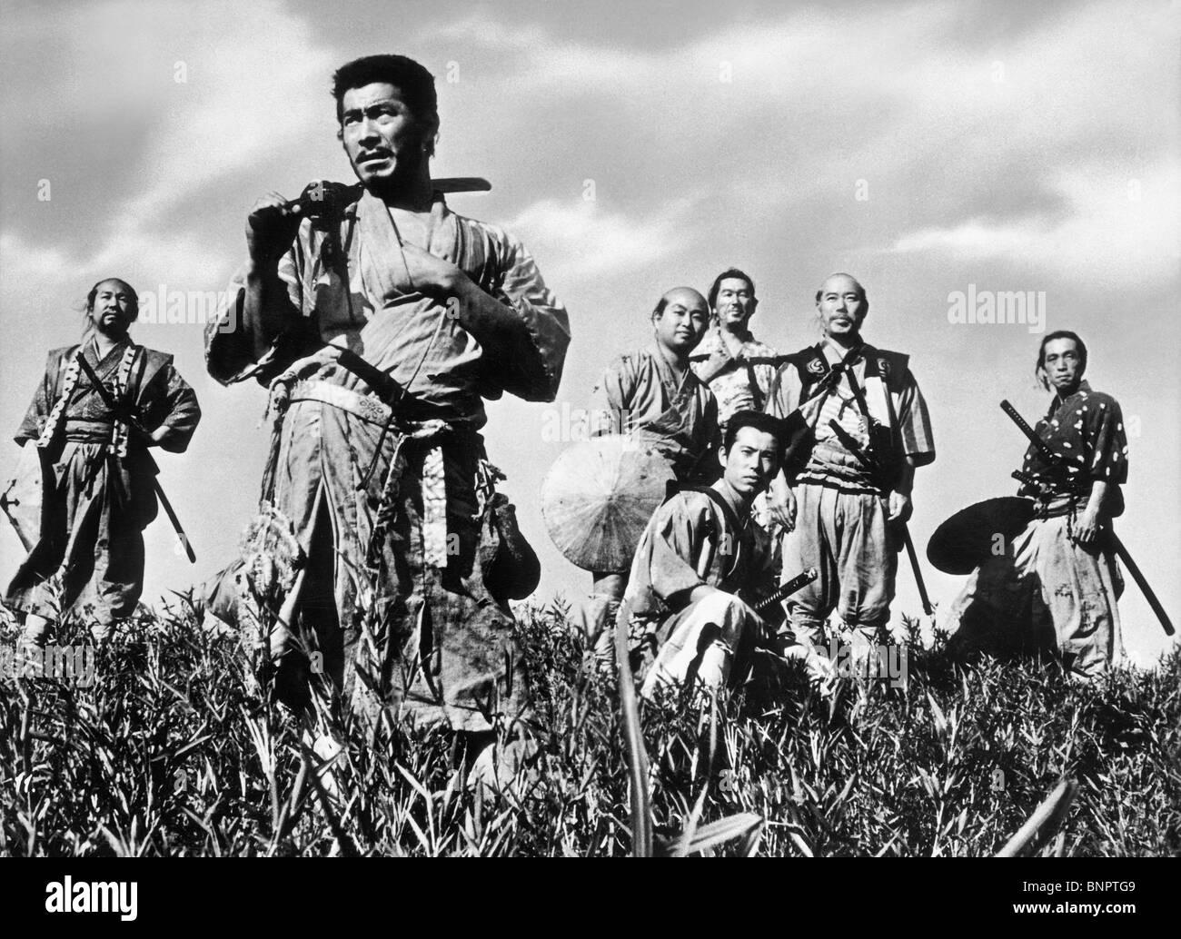 TOSHIRO MIFUNE & TAKASHI SHIMURA SEVEN SAMURAI (1954) Stock Photo