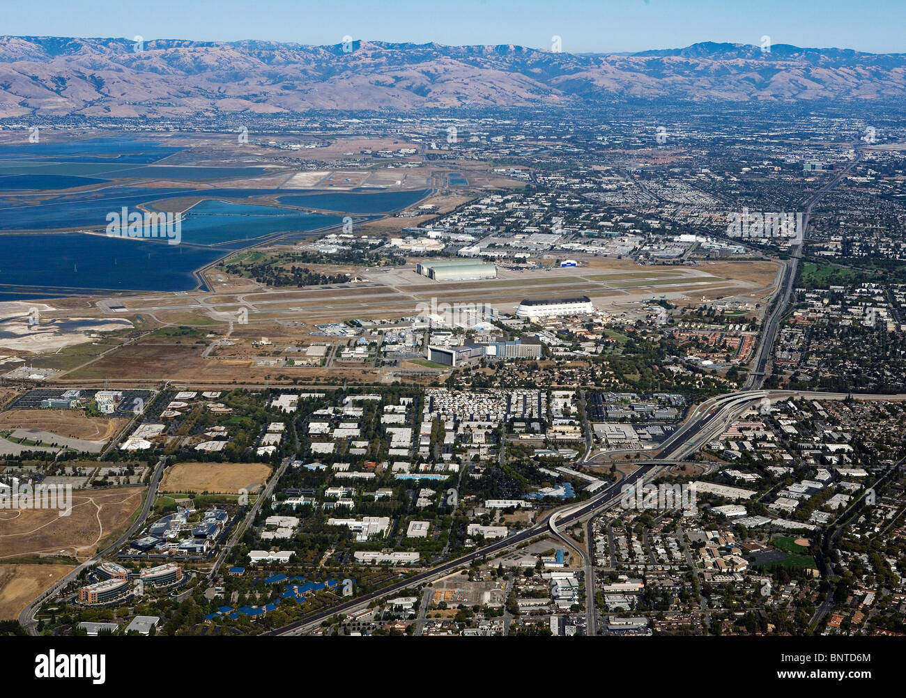 aerial view above Silicon Valley from Mountain View California - Stock Image