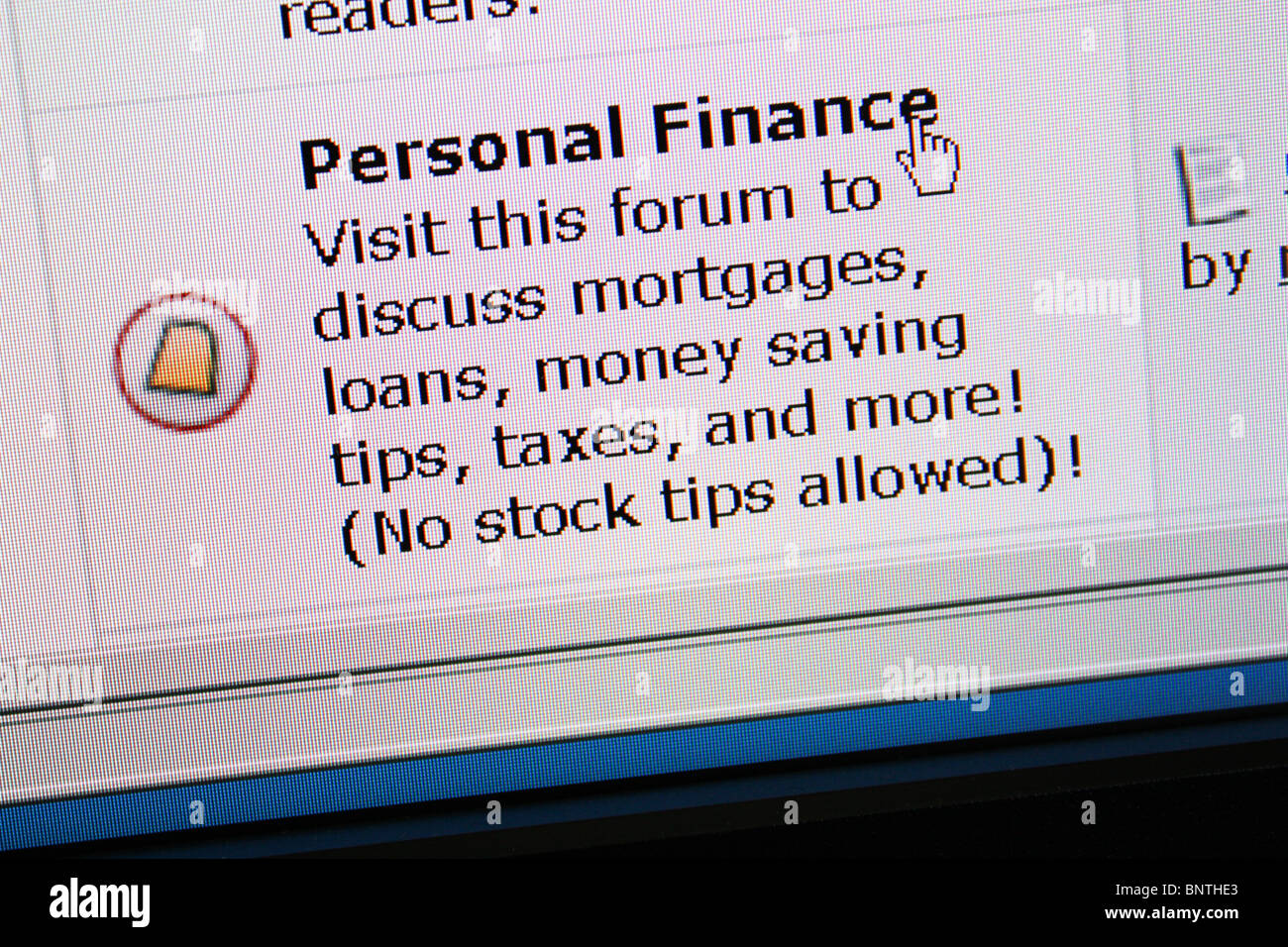 online discussion forum personal finance - Stock Image