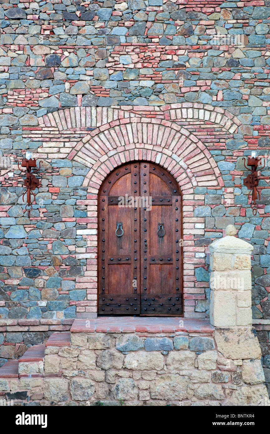 Outside door of castle. Castello di Amerorosa. Napa Valley, California. Property released - Stock Image