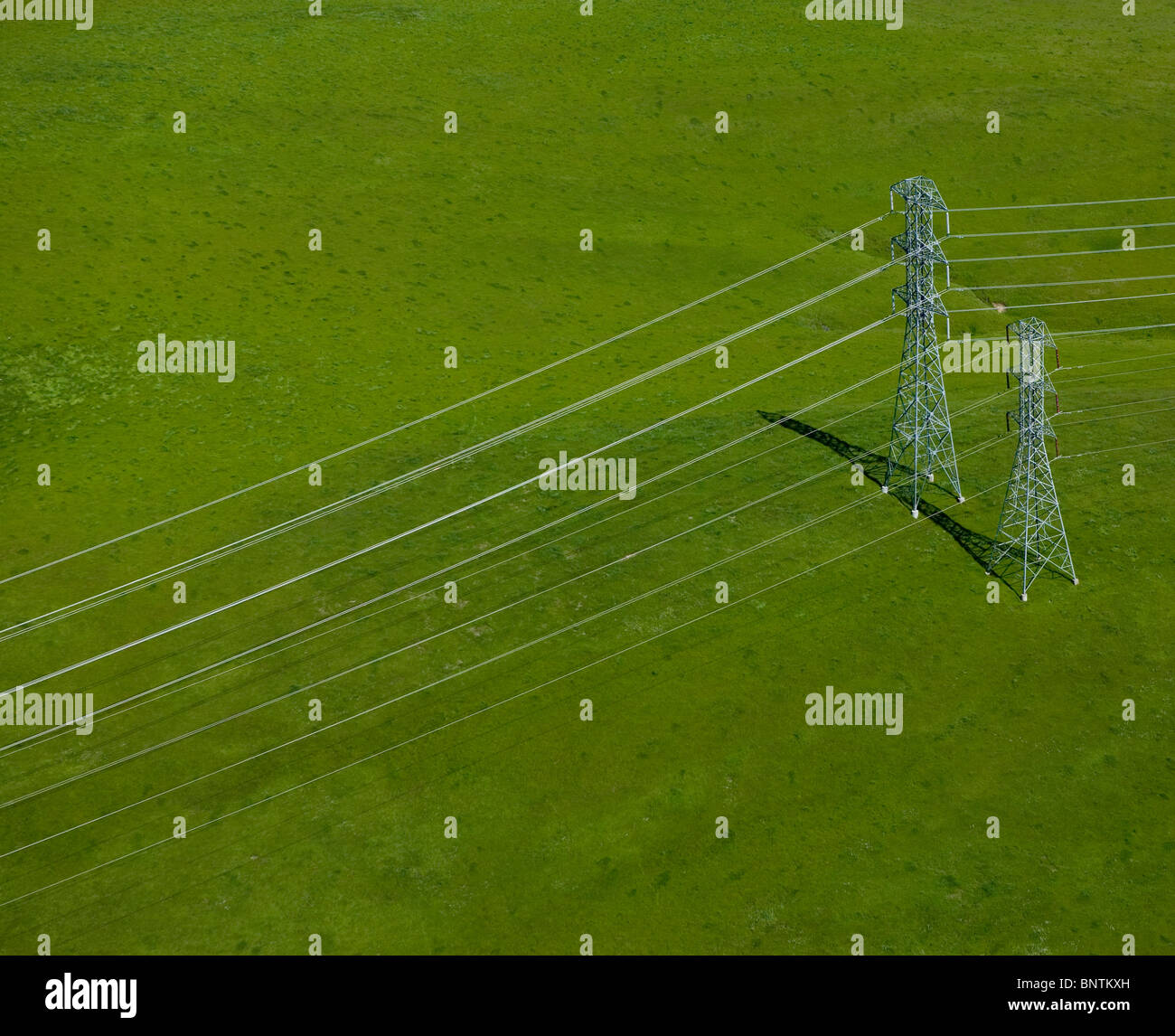 aerial view above electrical power transmission lines Sonoma county California - Stock Image