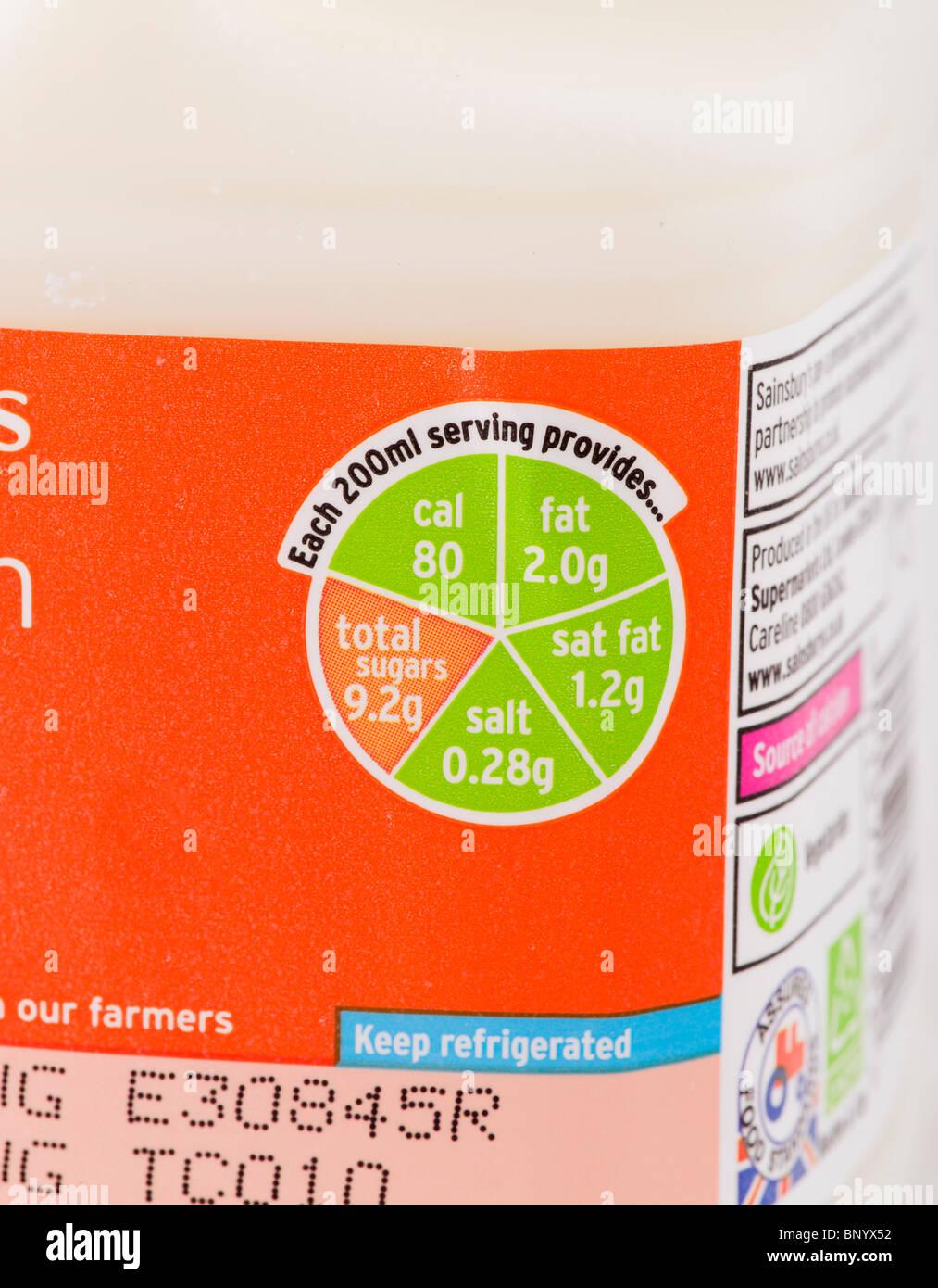 'Traffic Light' label on a carton of Sainsbury's low fat milk - Stock Image