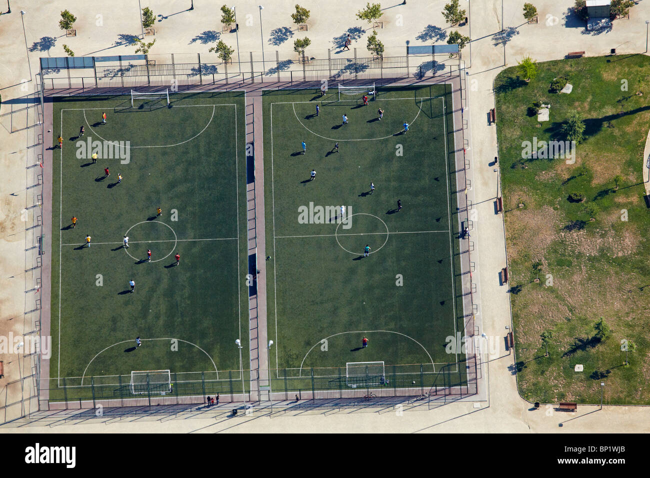 Football Fields, Santiago, Chile, South America - aerial - Stock Image