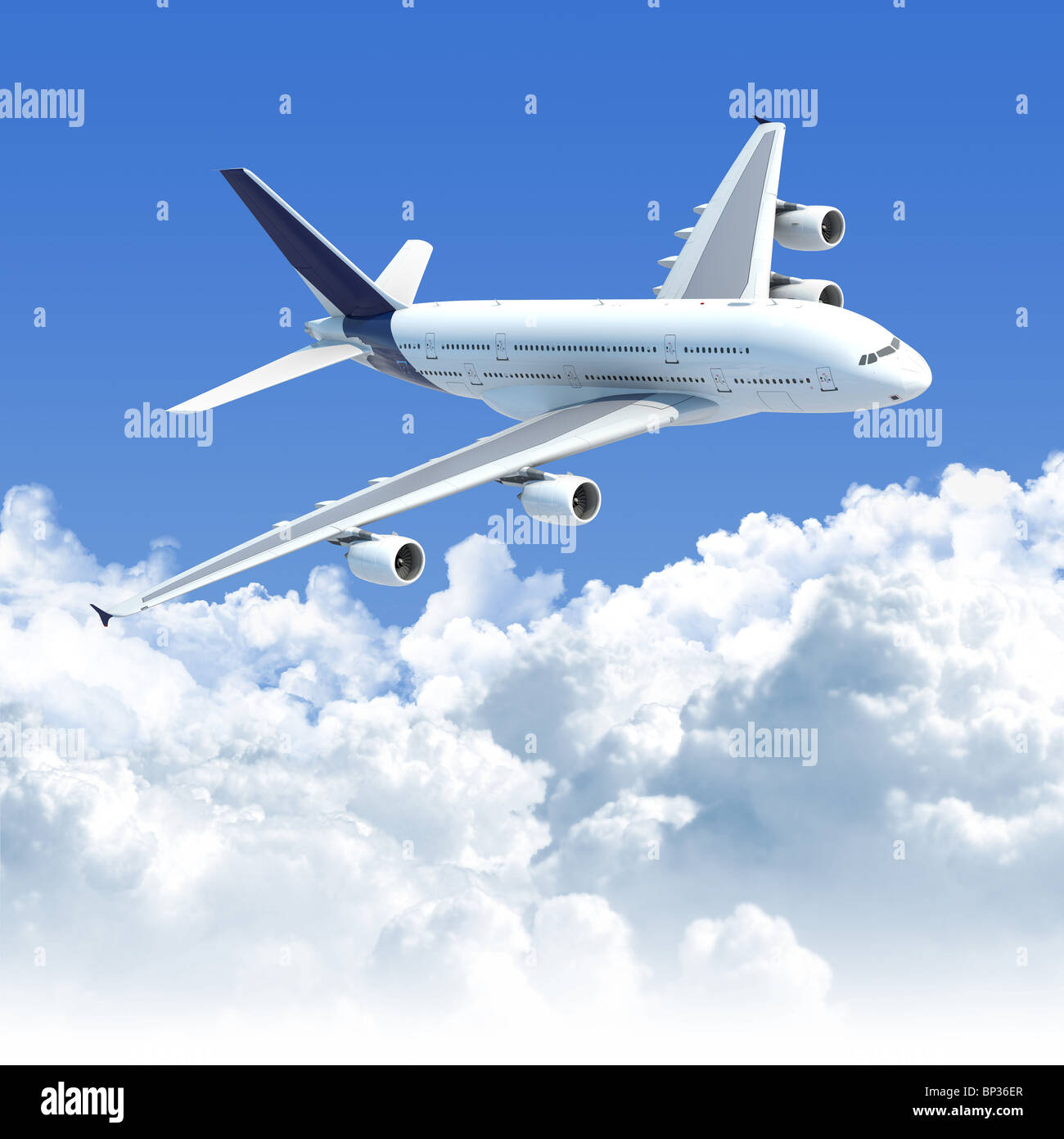 Big Jet airplane flying over a clear cloudscape - Stock Image