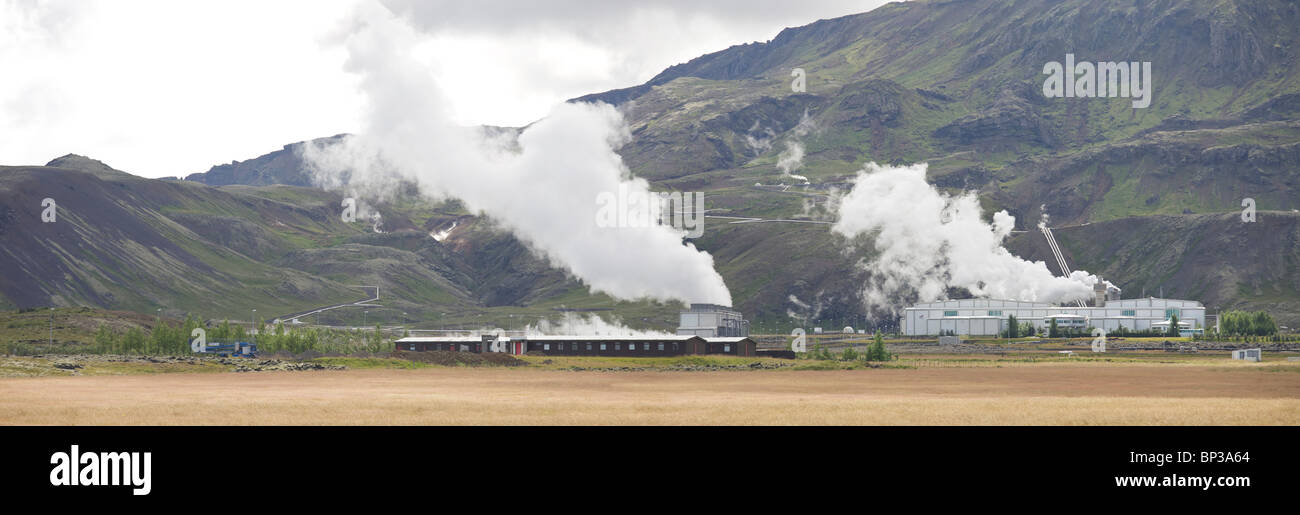 Nesjavalla Power Plant in the Thingvellir National Park, harvests electricity from geothermal energy. Iceland - Stock Image