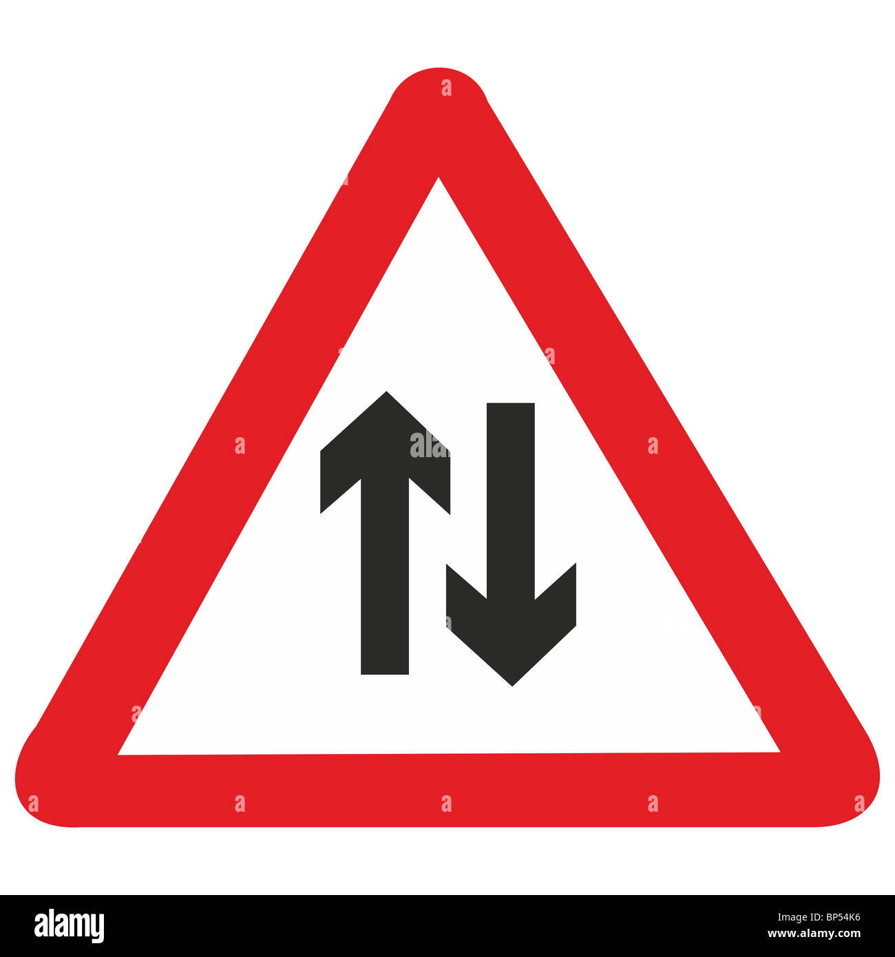 uk road sign arrows two way traffic drive on left stock photo