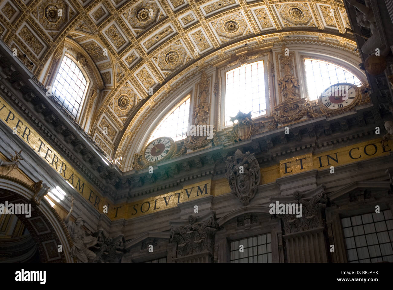 Interior of St. Peter's Basilica, Rome - Stock Image