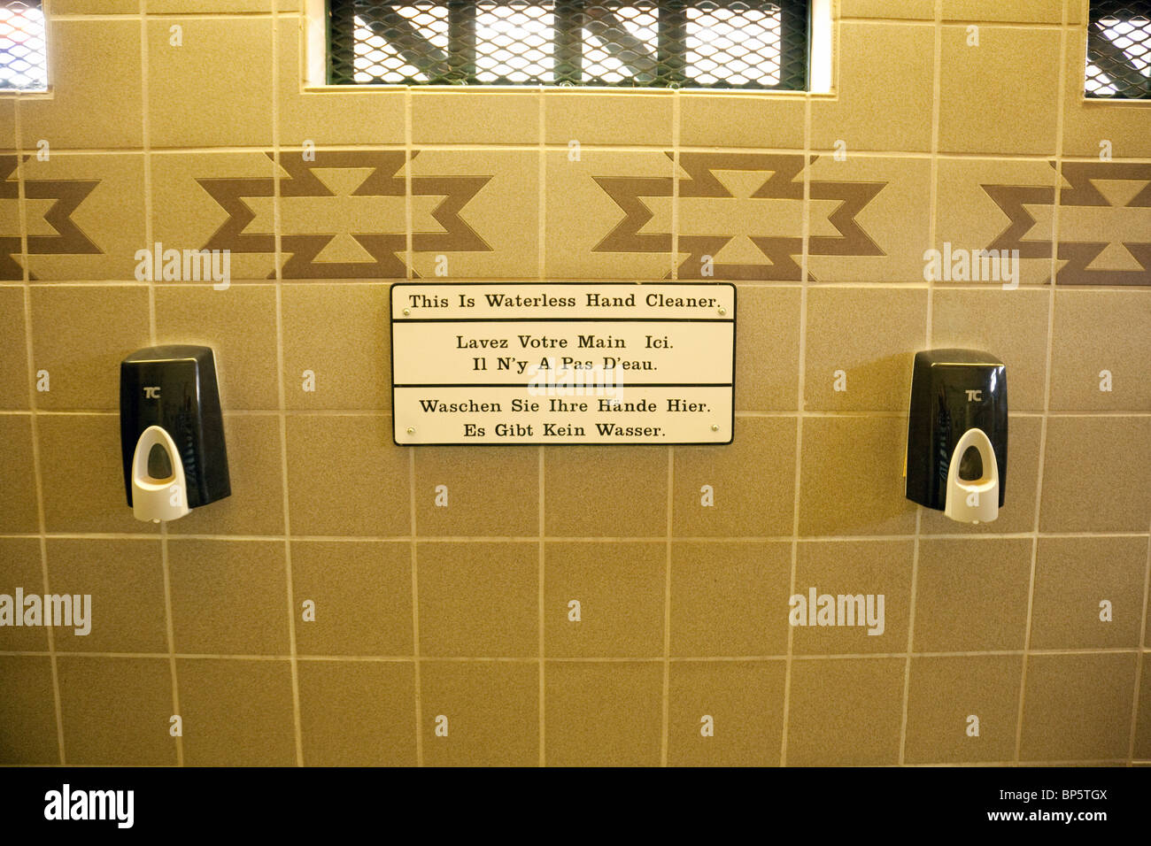 Environmentally friendly waterless hand cleaner in a lavatory in Arizona USA - Stock Image