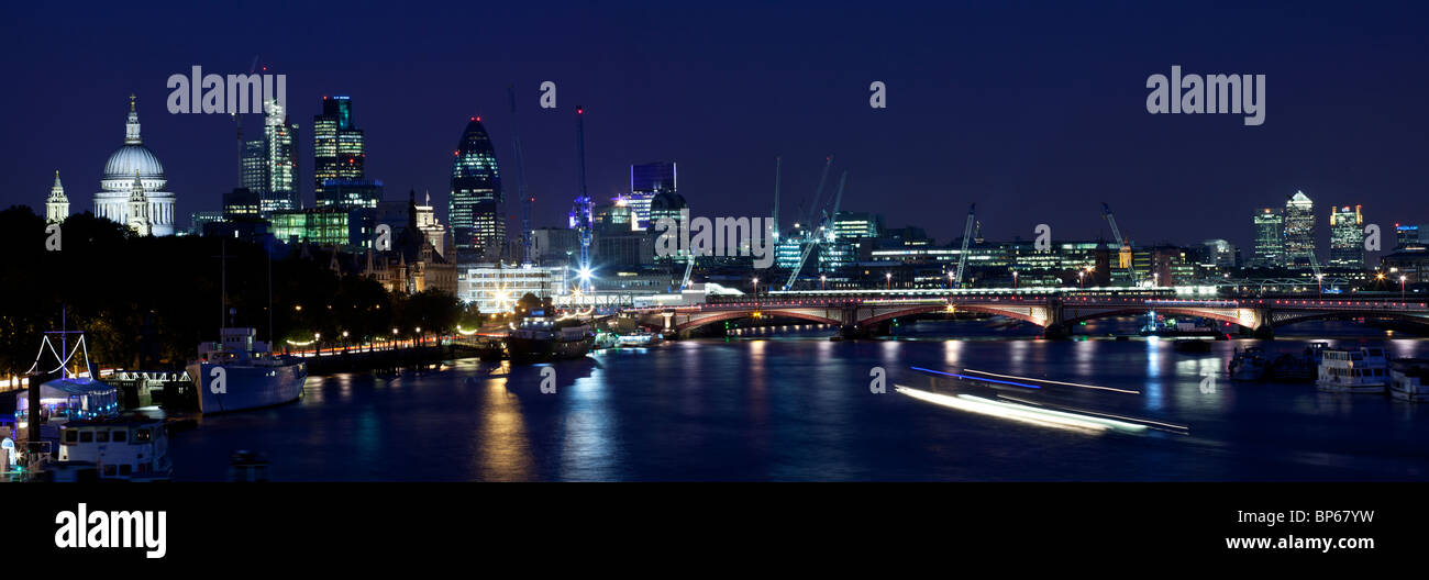 City of London skyline at dusk, from St Paul's to Canary Wharf - Stock Image