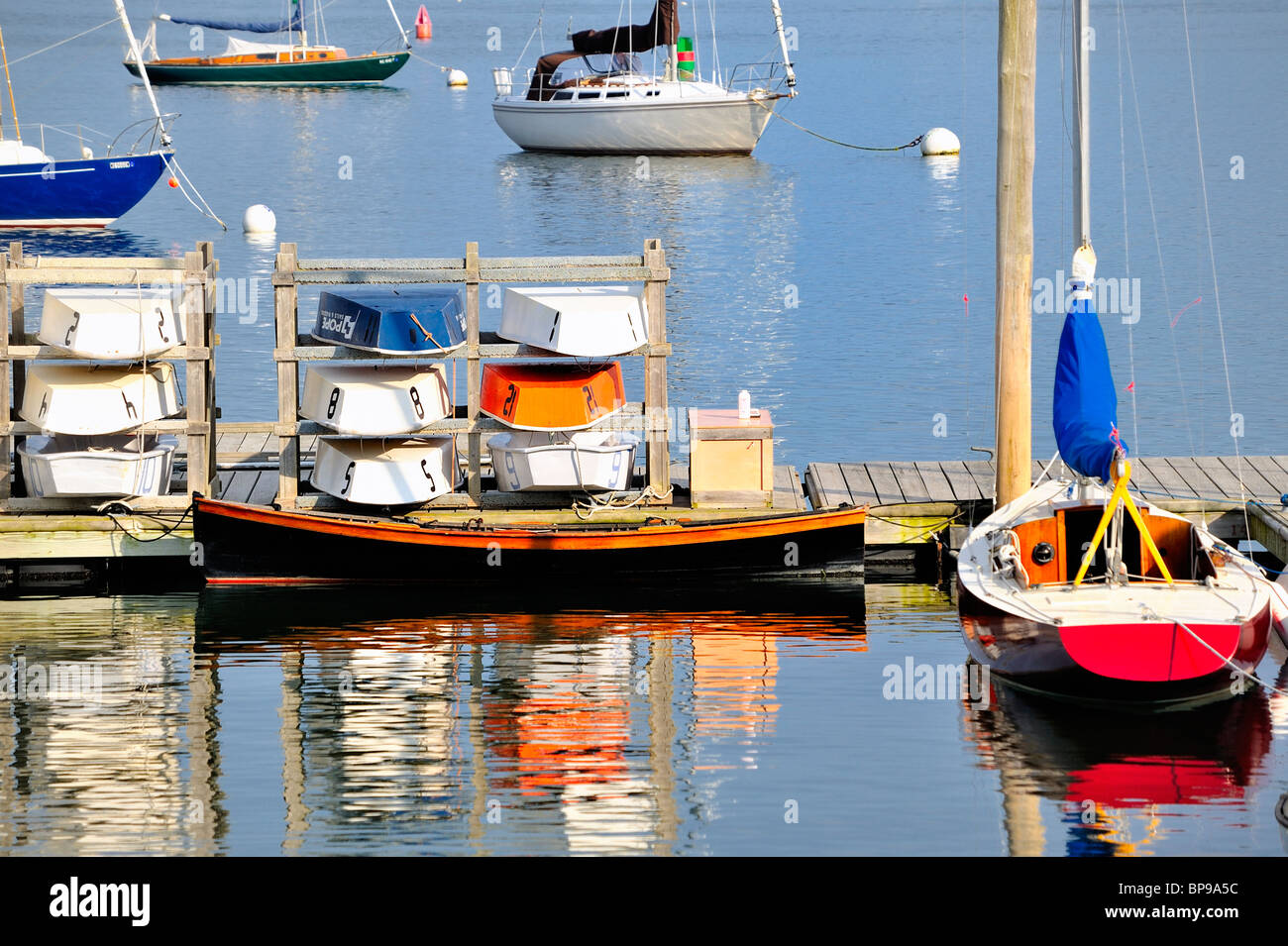tranquil-scene-of-rockland-harbor-maine-with-colorful-boats-moored-BP9A5C.jpg
