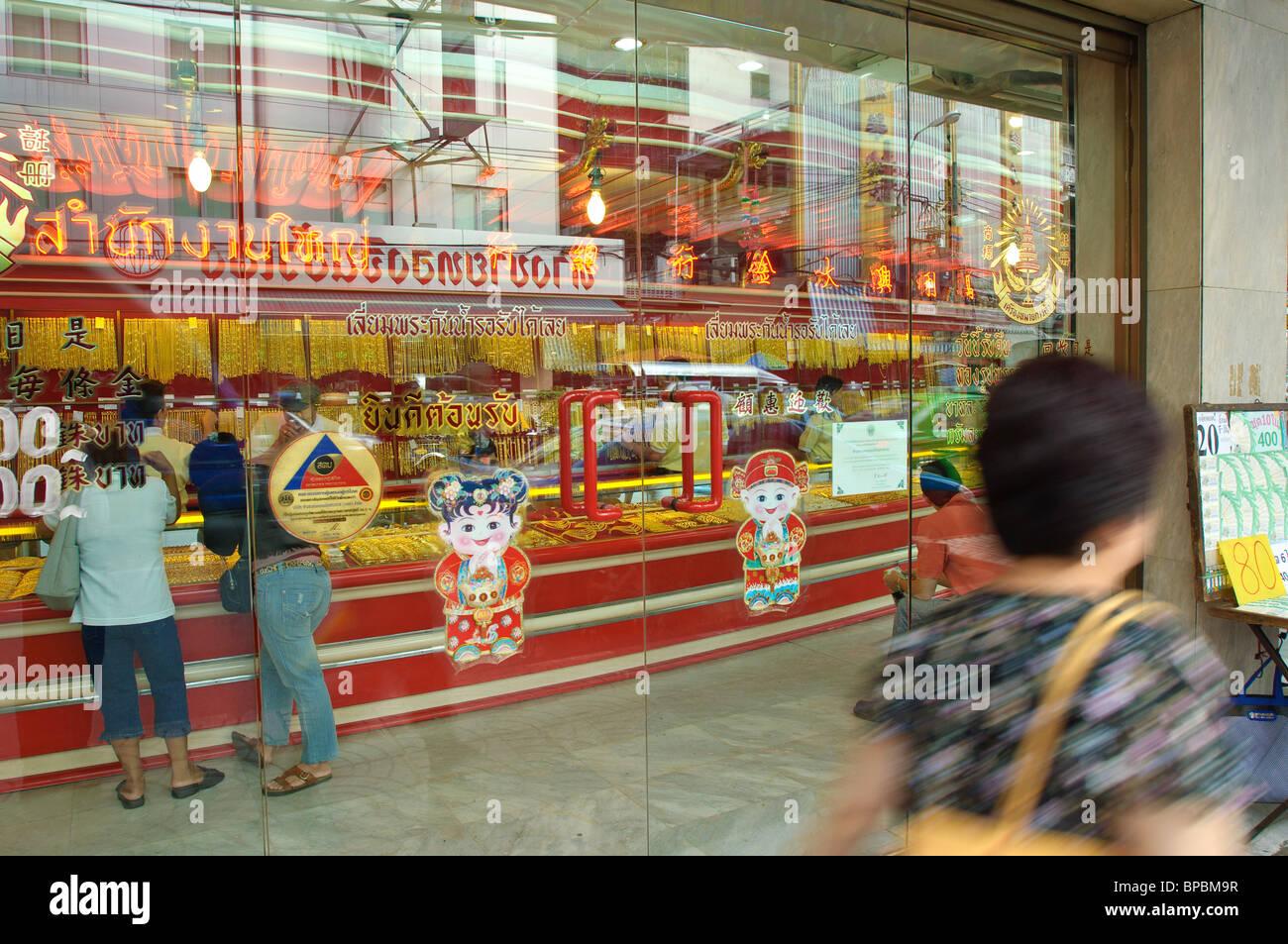 Chinatown Bangkok Thailand Gold jewelry store Stock Photo