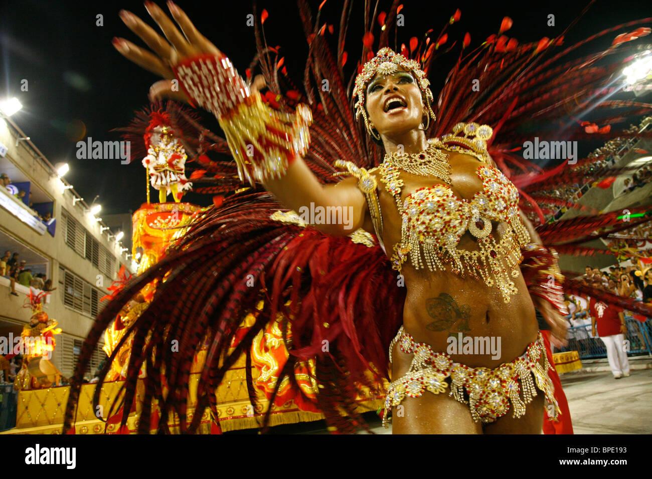Carnival parade at the Sambodrome, 2010, rio de janeiro, Brazil. - Stock Image