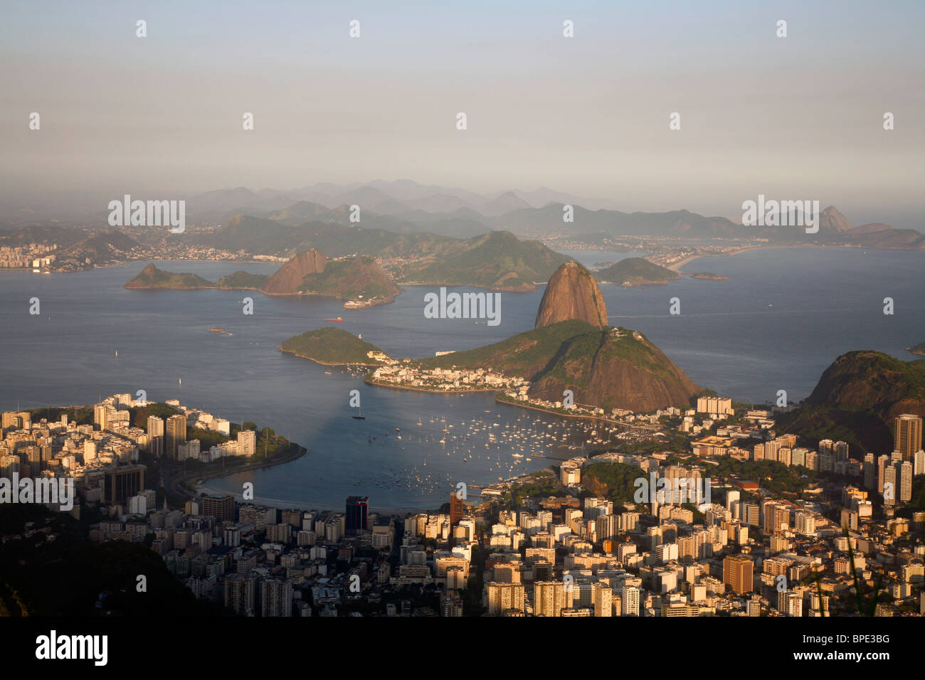 View of the Pao Acucar or Sugar loaf mountain and the bay of Botafogo, Rio de Janeiro, Brazil. - Stock Image