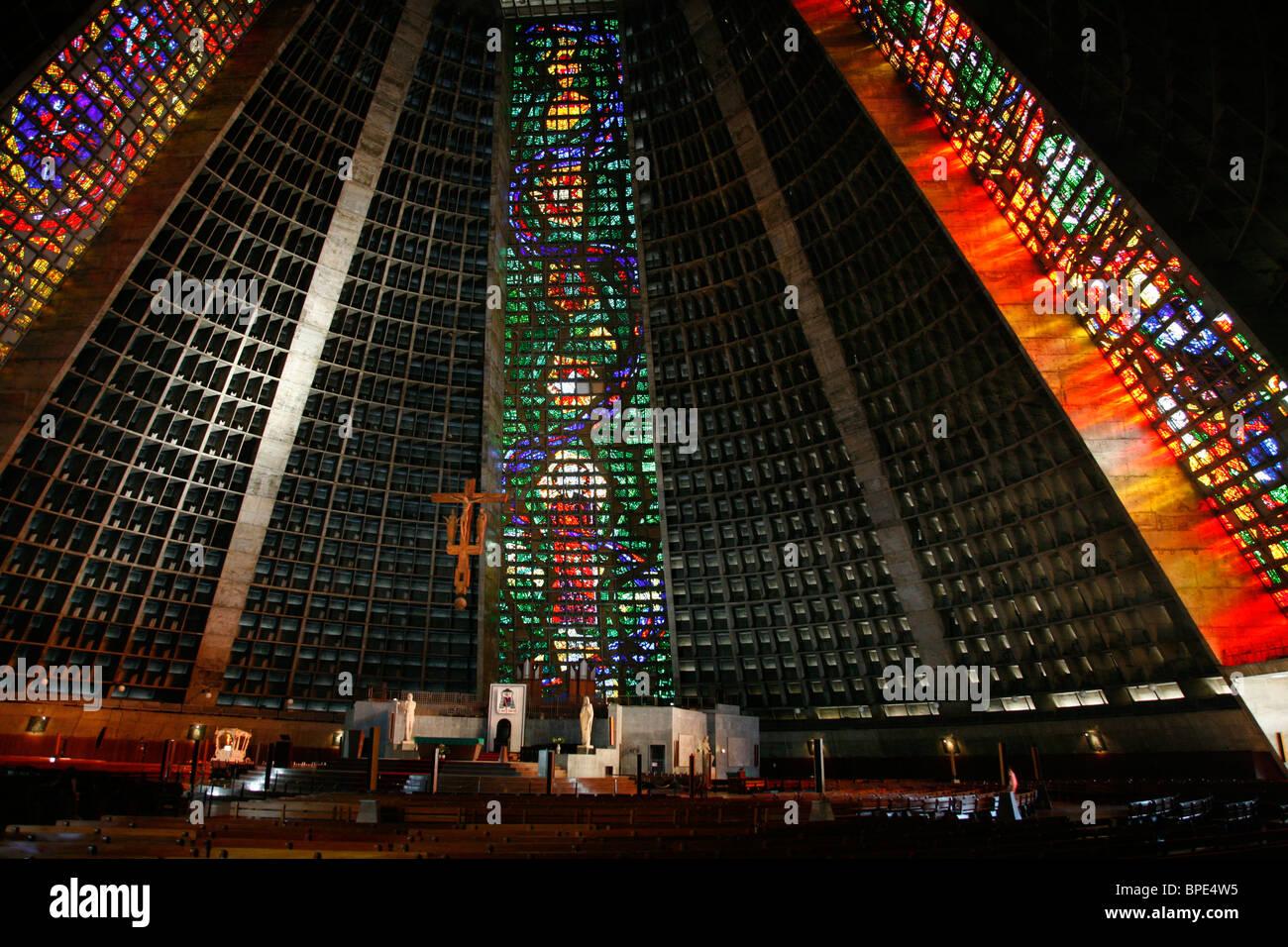 Catedral Metropolitana, Rio de Janeiro, Brazil. - Stock Image