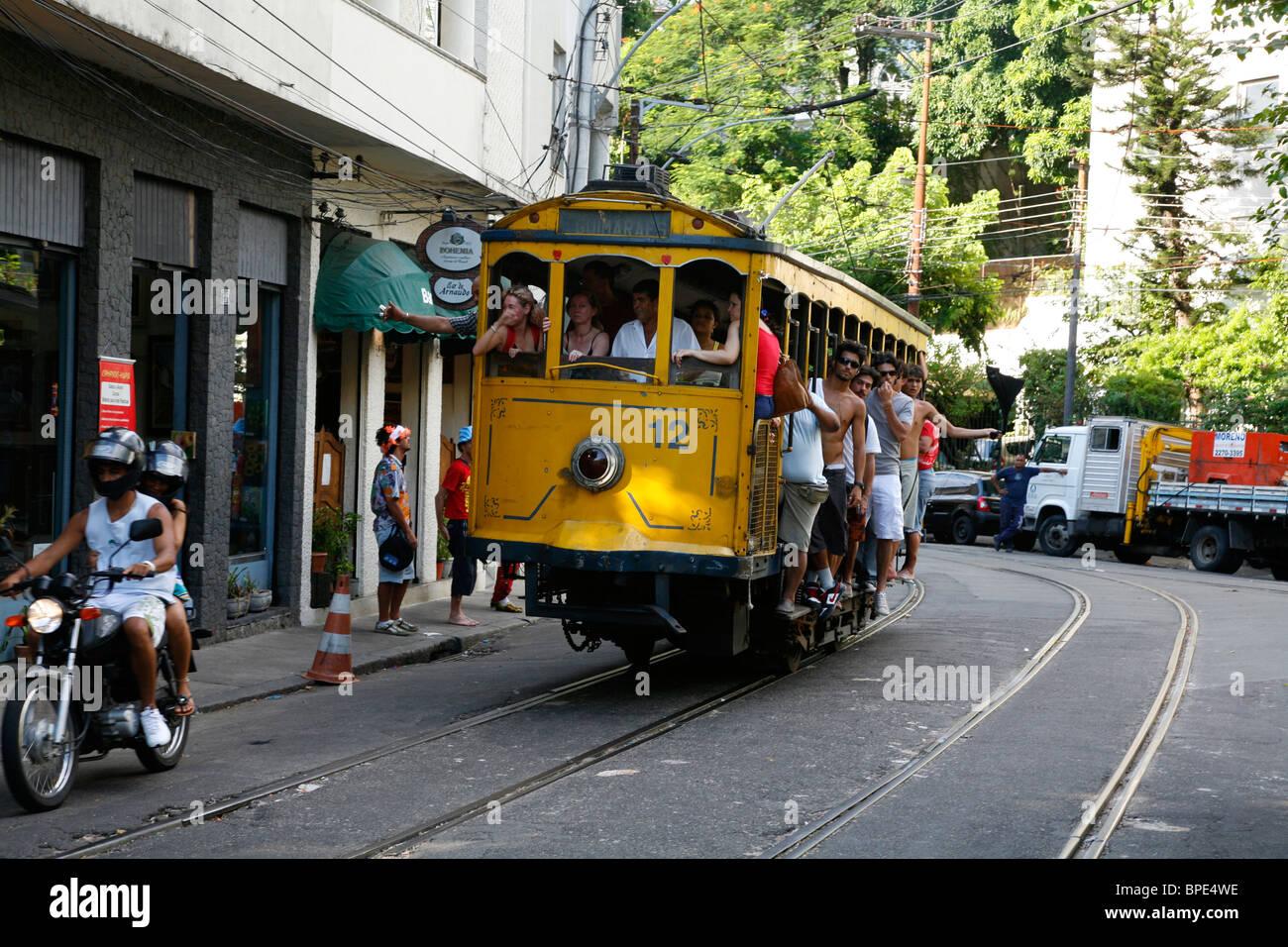 The Bonde (Trolley) at Santa Teresa, Rio de Janeiro, Brazil. Stock Photo