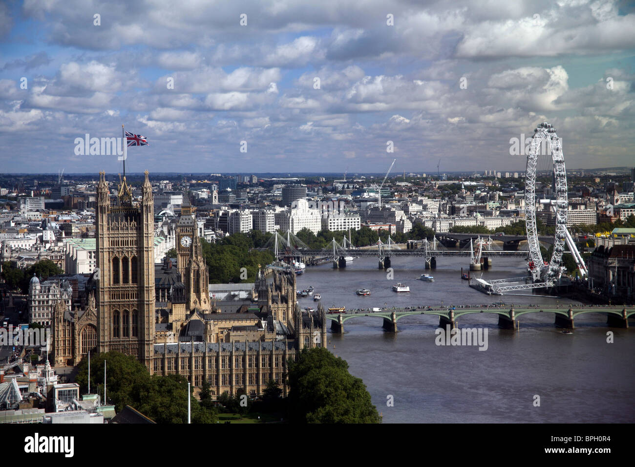 High view of The Palace of Westminster taken from Millbank Tower Stock Photo