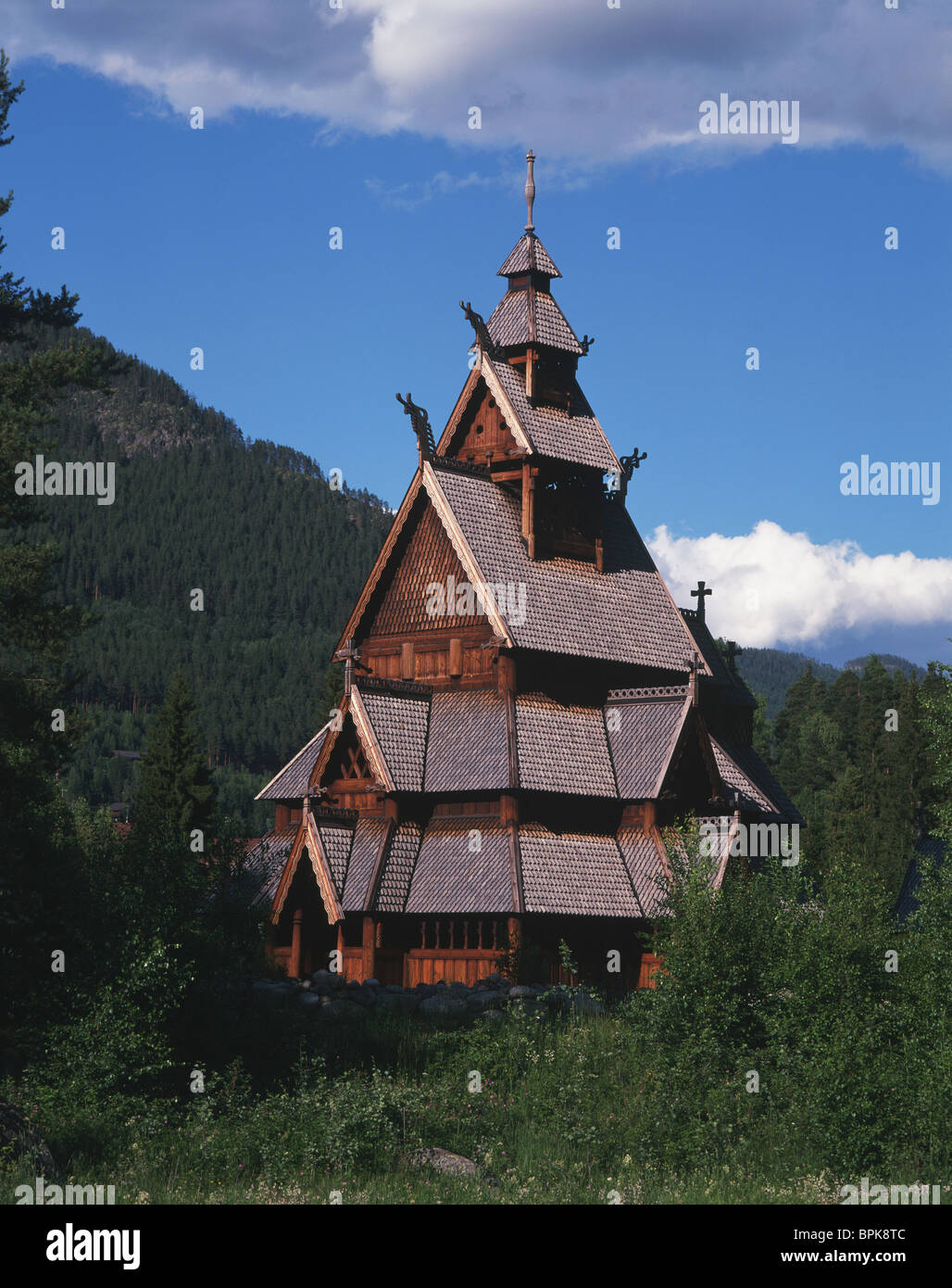 Stave Church at Gol, nr. Oslo, Norway - Stock Image