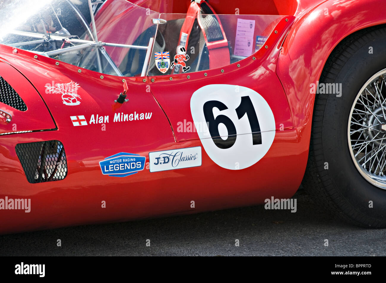 Closeup of Red Maserati T61 Birdcage at Oulton Park Motor Racing Circuit Cheshire England United Kingdom UK - Stock Image