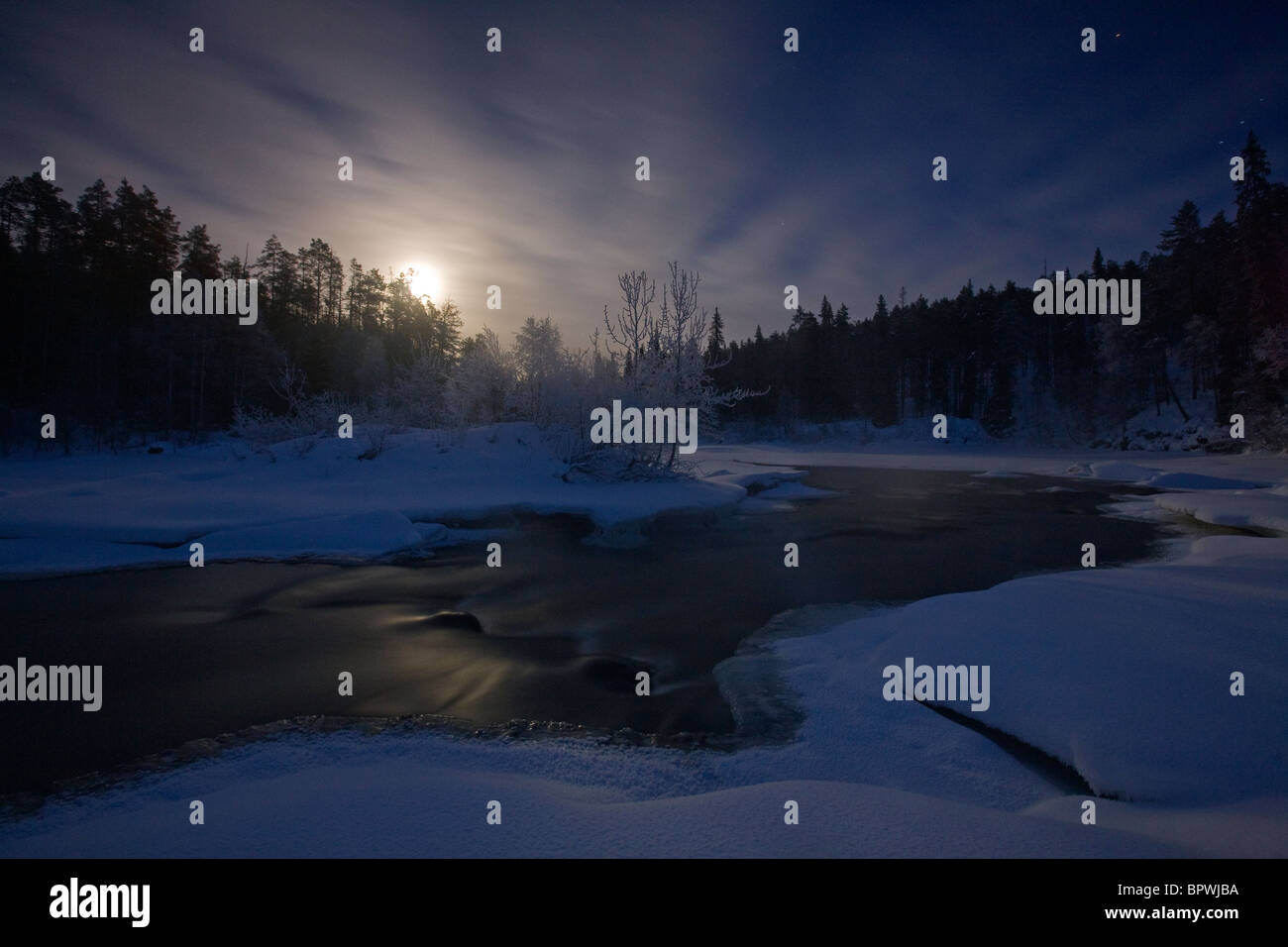 Moonrise on the Oulanka River in Oulanka National Park, Finland. - Stock Image