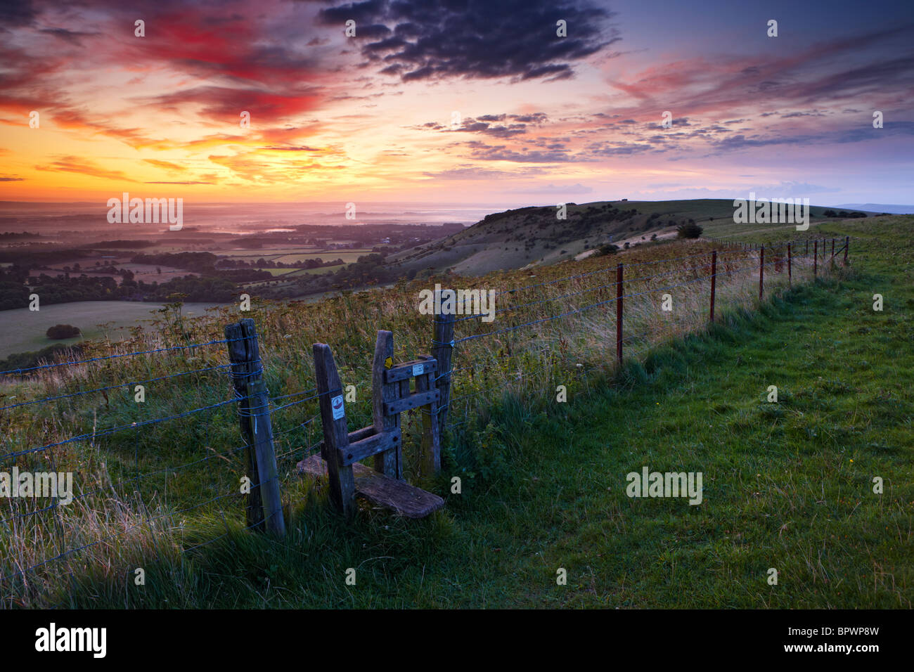 Views from Ditching Beacon along the South Downs Way at dawn - Stock Image