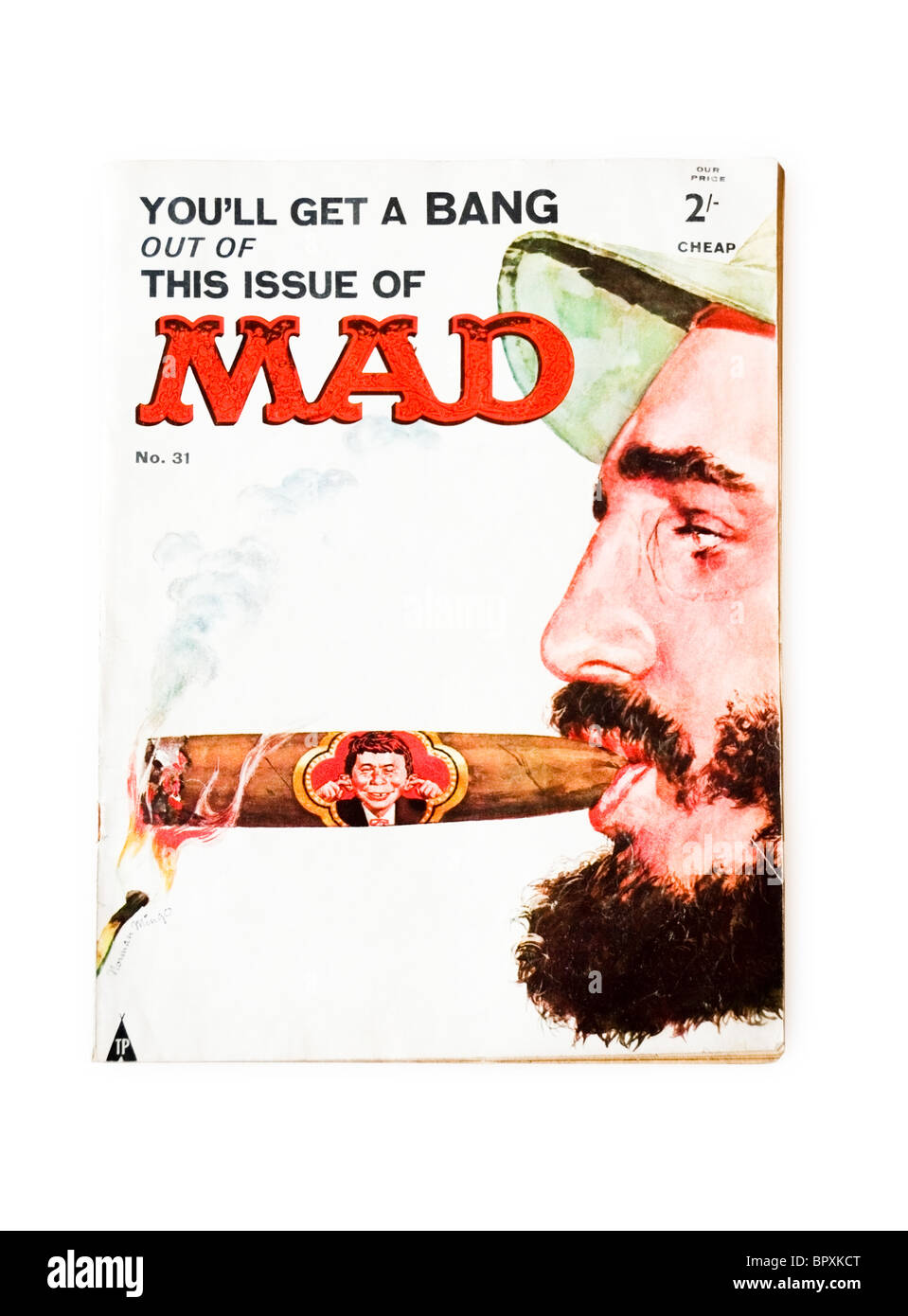 Front cover design of MAD, American humour magazine, illustration by Alfred Newman - Stock Image
