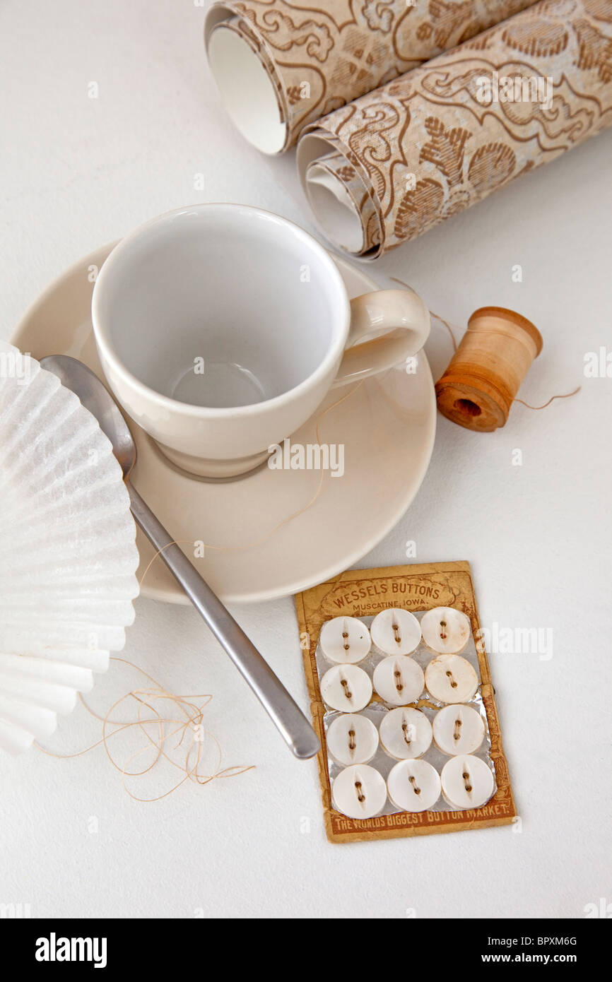 still life scene with coffee and creative items - Stock Image
