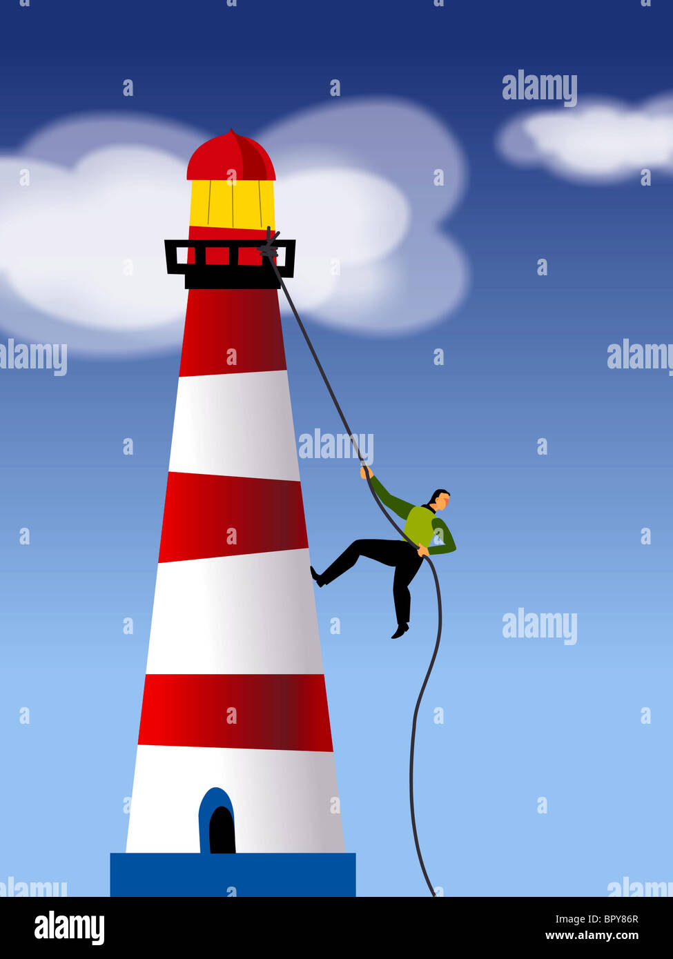 A businessman rope climbing a light house - Stock Image