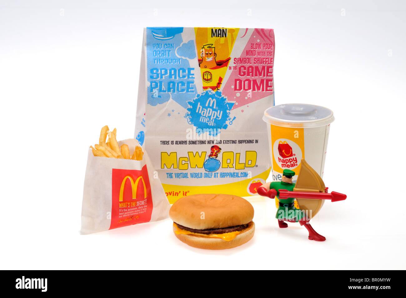 Mcdonalds happy meal with robin hood toy on white background stock mcdonalds happy meal with robin hood toy on white background cutout usa freerunsca Images
