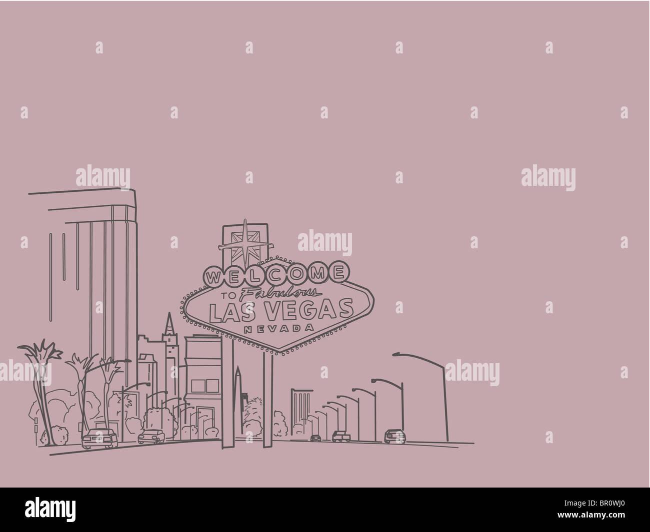 An illustration of city of Las vegas - Stock Image