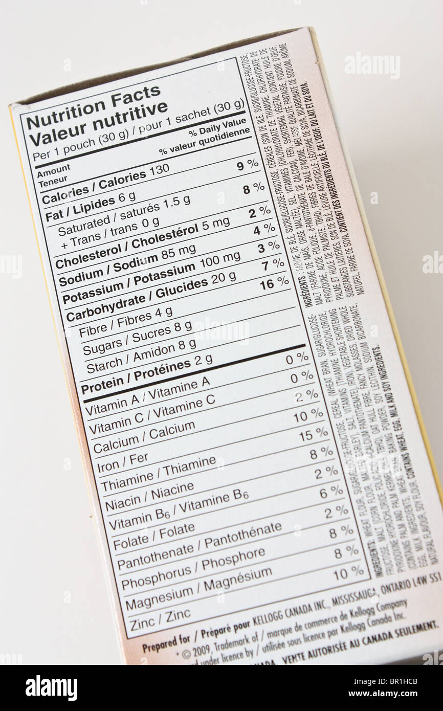 box nutrition food label - Stock Image