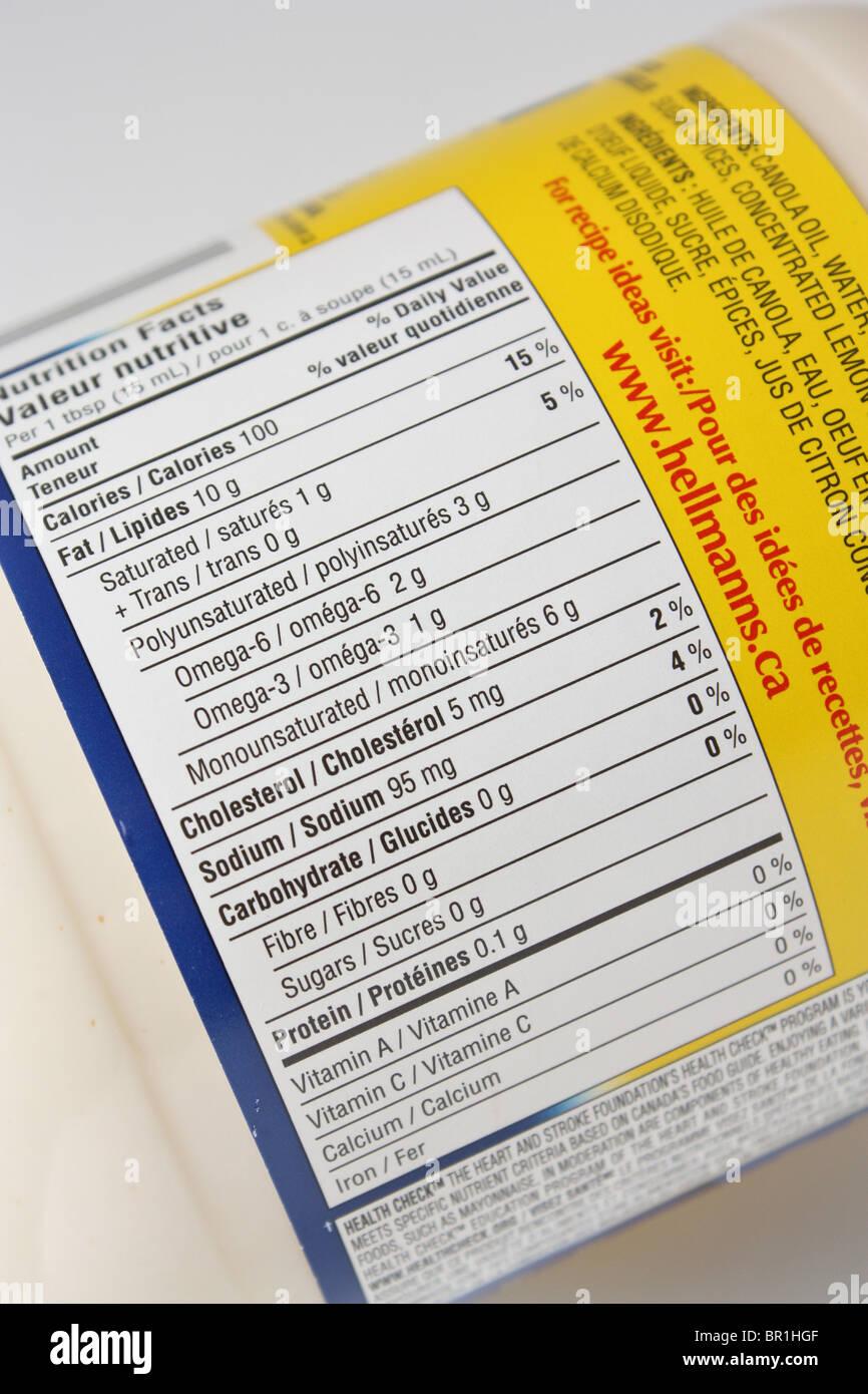 mayo nutrition food label - Stock Image