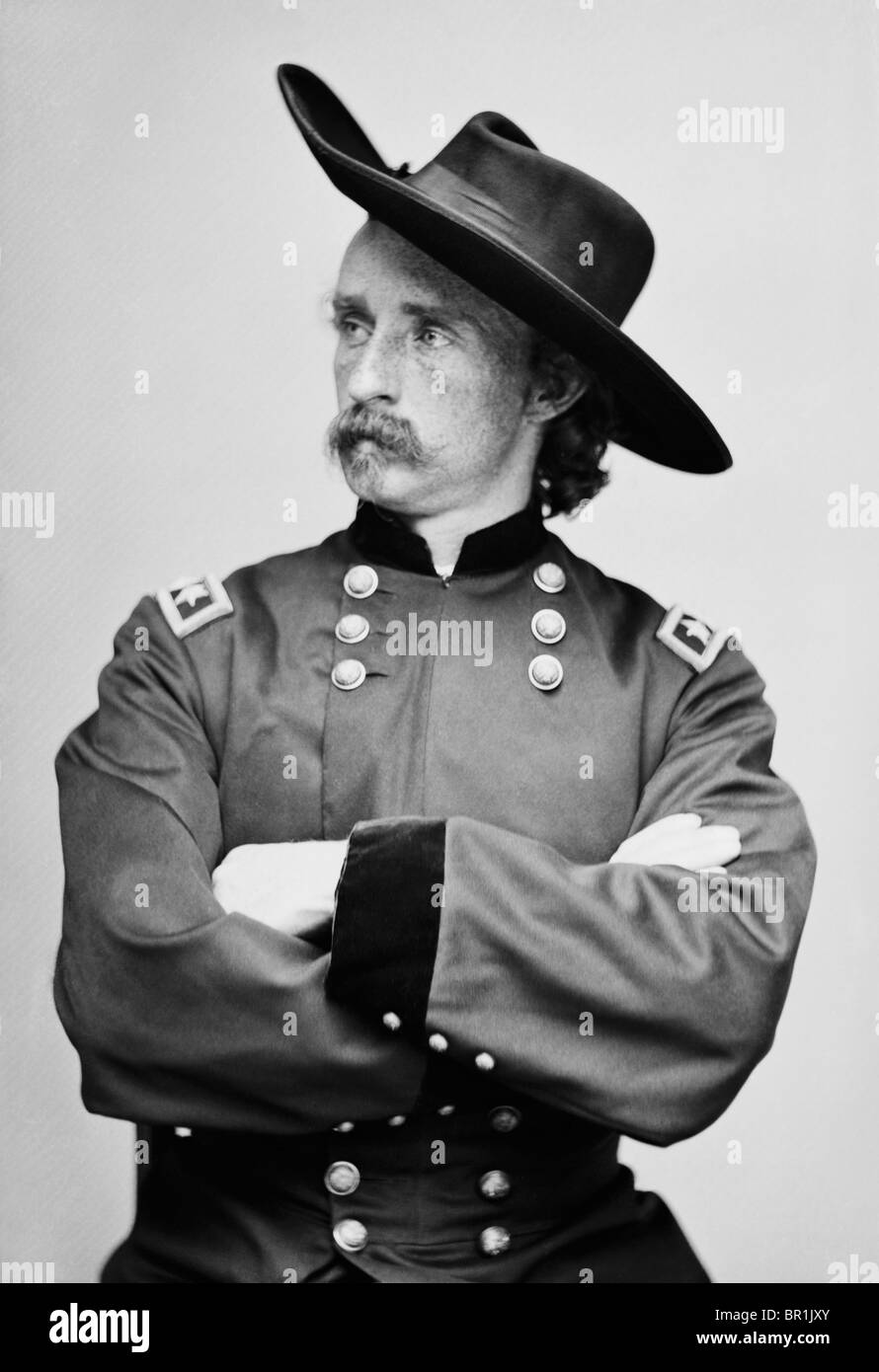 Portrait c1865 of Major-General George Armstrong Custer (1839 - 1876) - famously killed in the Battle of the Little - Stock Image