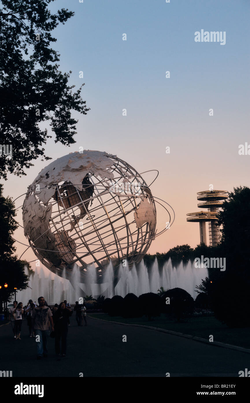 Globe and towers from the 1964 World's Fair Corona Park, Flushing Meadows Queens. Earth Day concept. - Stock Image