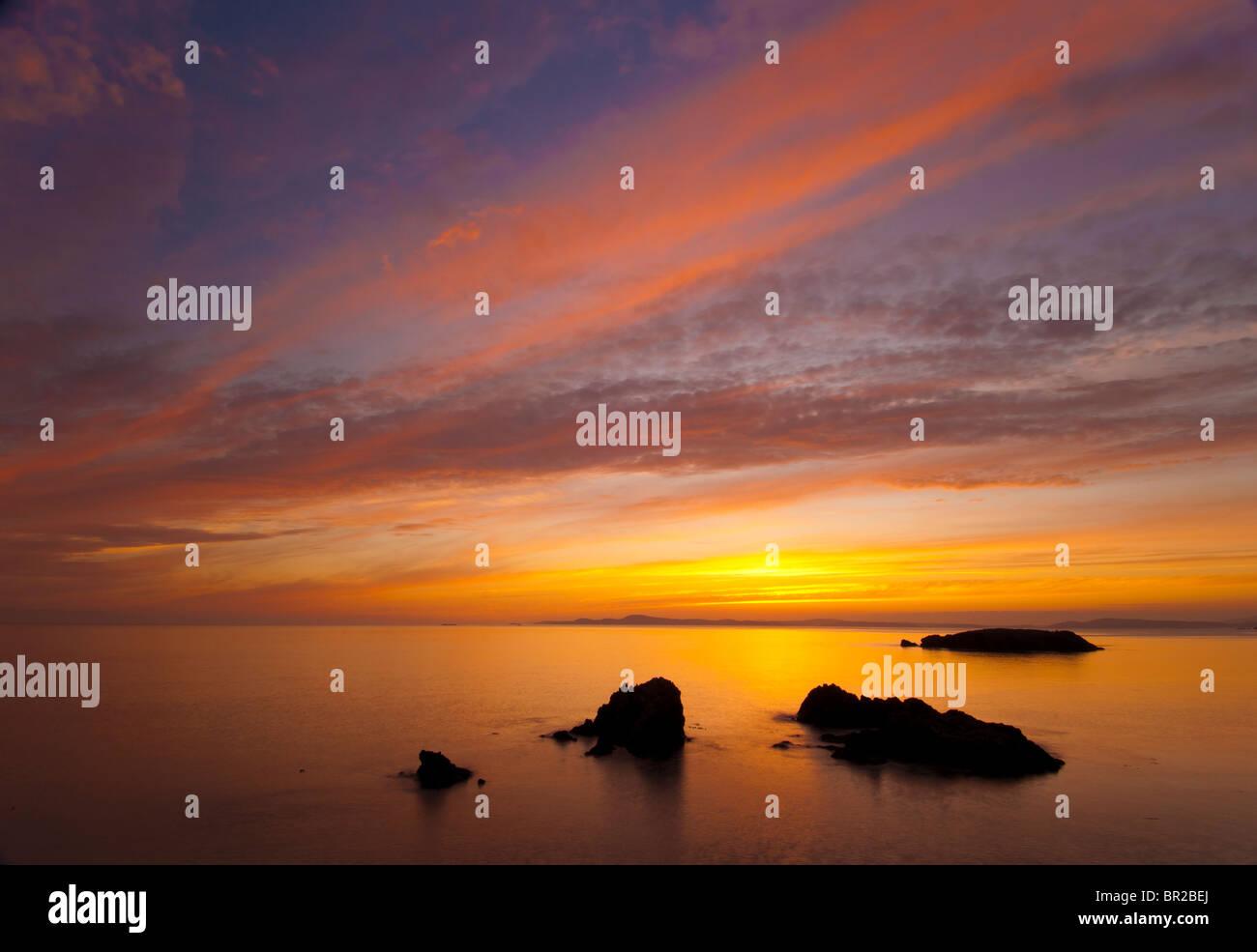 Sunset at Rosario Beach, Deception Pass State Park, Fidalgo Island, Washington. - Stock Image