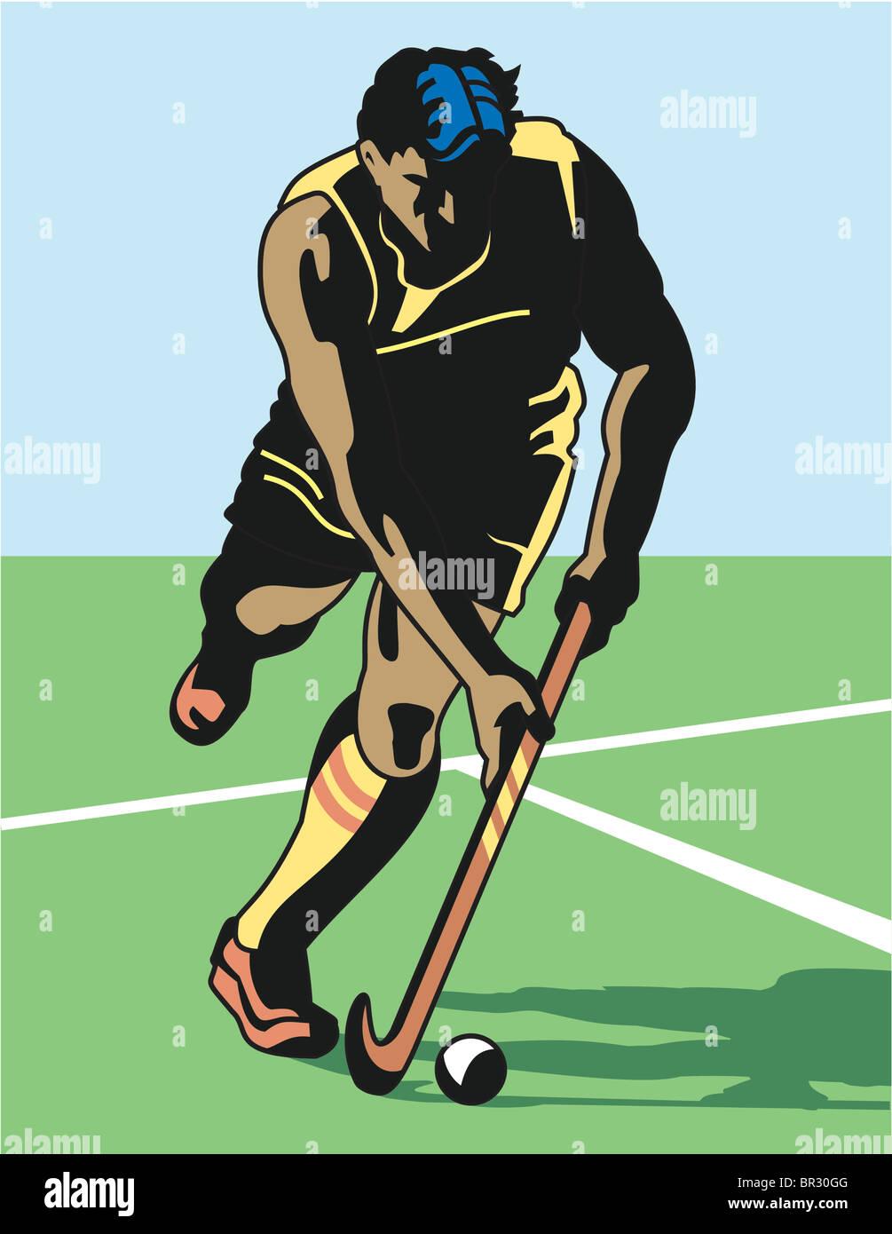 A man playing field hockey - Stock Image