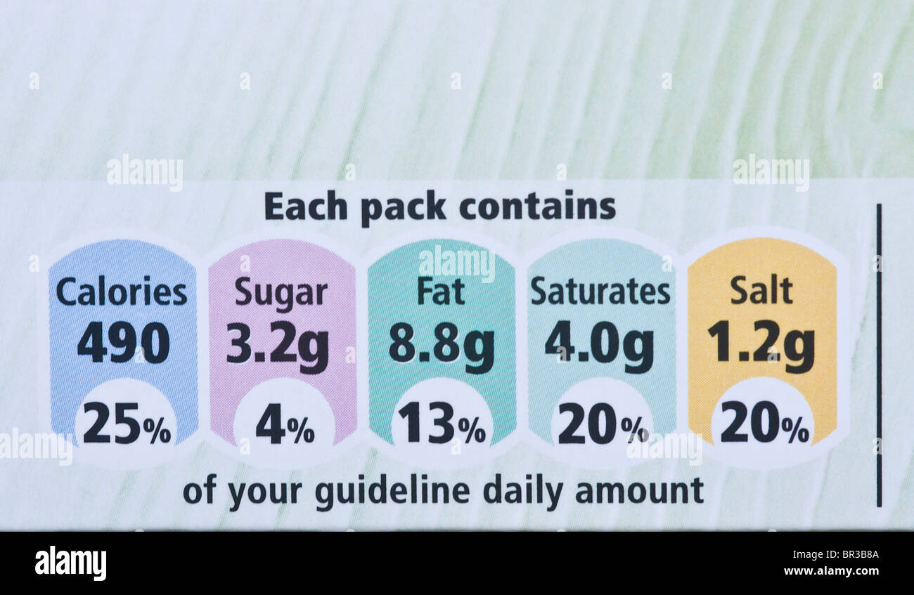 Nutritional information from a packet Tesco ready meal - Stock Image