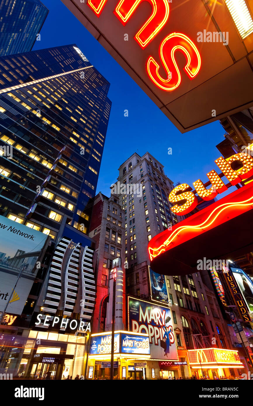 Neon lights of 42nd Street, Times Square, Manhattan, New York City, New York, United States of America, North America - Stock Image