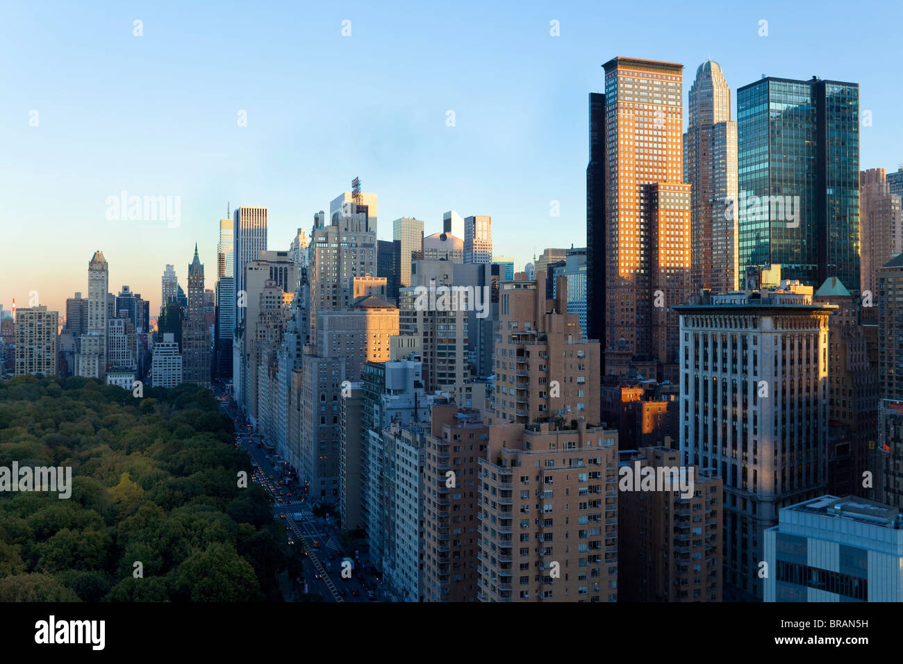 Buildings along South Central Park in Uptown Manhattan, New York City, New York, United States of America, North - Stock Image