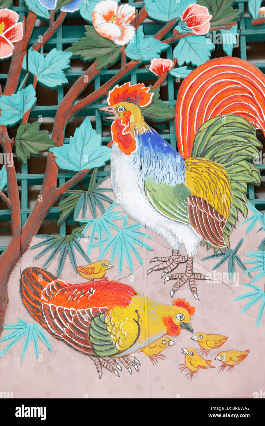Rooster, hen and chicks, Seoul, South Korea - Stock Image