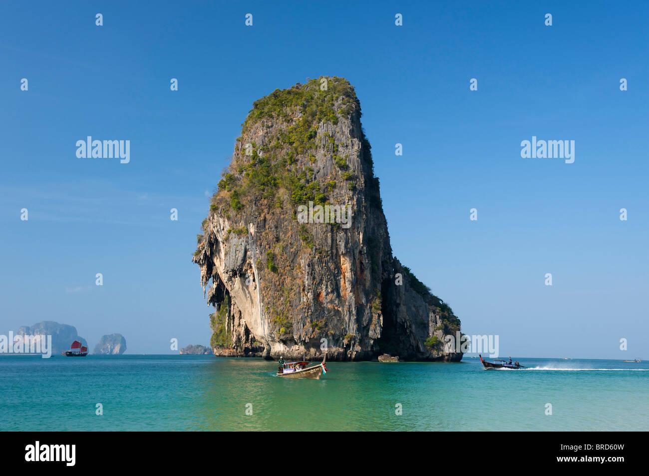 Long-tail boats at Laem Phra Nang Beach, Krabi, Thailand - Stock Image